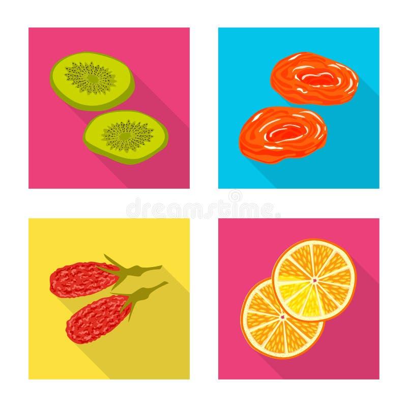 Conception de vecteur de fruit et de signe sec Placez de l'ic?ne de vecteur de fruit et de nourriture pour des actions illustration libre de droits