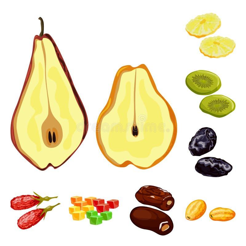 Conception de vecteur de fruit et de symbole sec Placez de l'ic?ne de vecteur de fruit et de nourriture pour des actions illustration libre de droits
