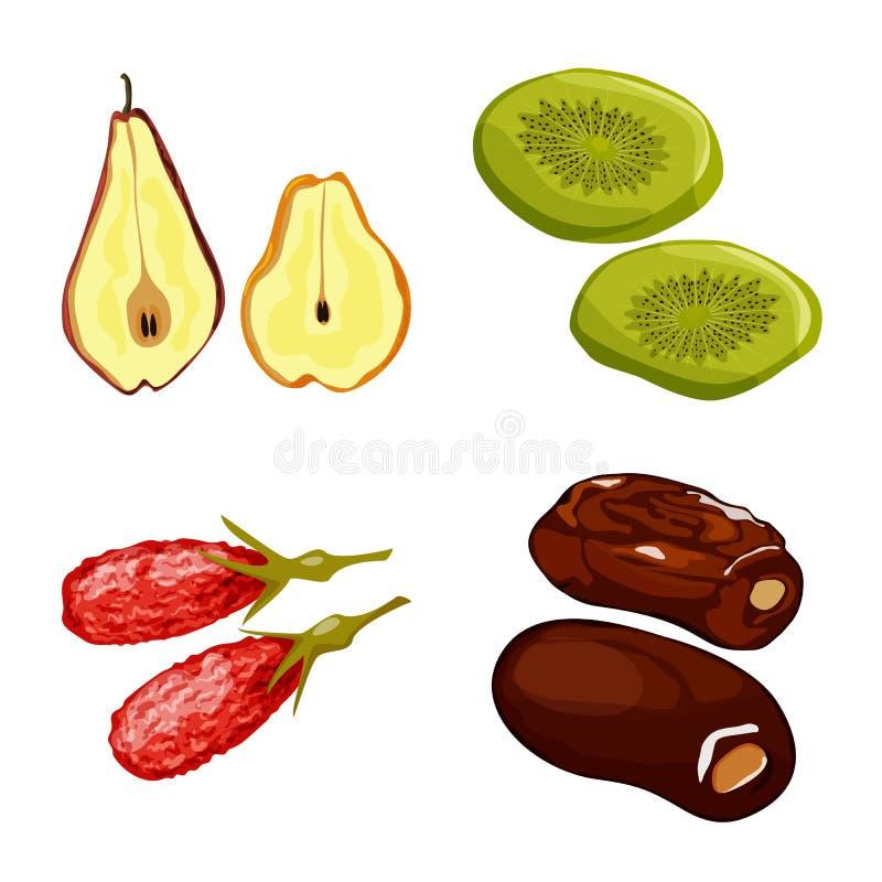 Conception de vecteur de fruit et de symbole sec Placez de l'illustration de vecteur d'actions de fruit et de nourriture illustration stock