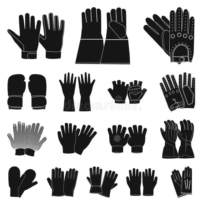 Conception de vecteur de gant et d'ic?ne d'hiver Collection de symbole boursier de gant et d'?quipement pour le Web illustration de vecteur