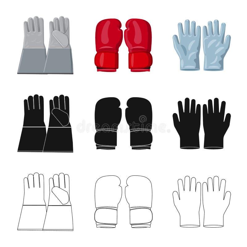 Conception de vecteur de gant et de logo d'hiver Ensemble d'illustration courante de vecteur de gant et d'?quipement illustration stock