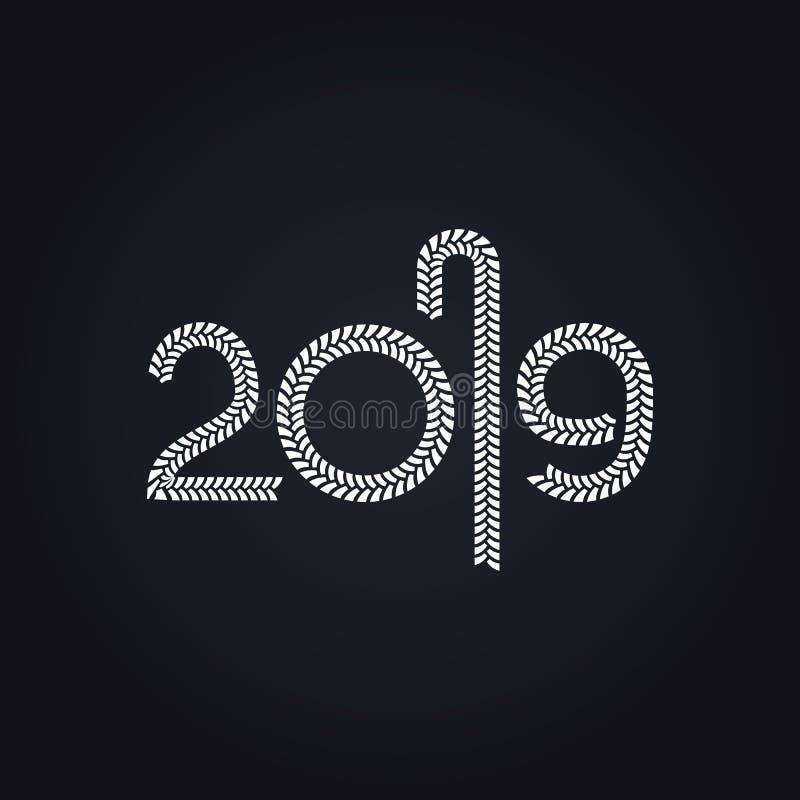 Conception de vecteur de la bonne année 2019 illustration de vecteur