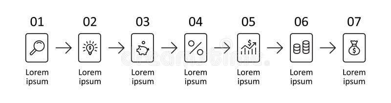 Conception de vecteur de label d'Infographic avec des icônes et 7 options ou étapes Course Editable illustration de vecteur