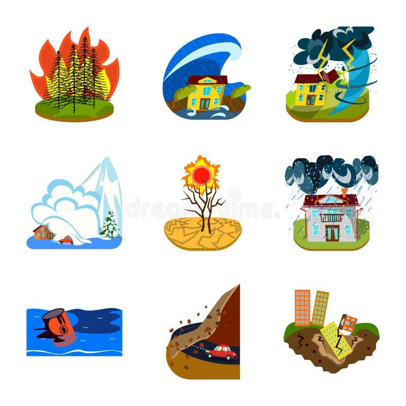 Conception de vecteur de logo de cataclysme et de catastrophe Collection de cataclysme et d'illustration de vecteur d'actions d'a illustration libre de droits