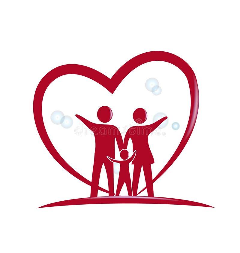 Conception de vecteur de logo d'amour de famille illustration stock