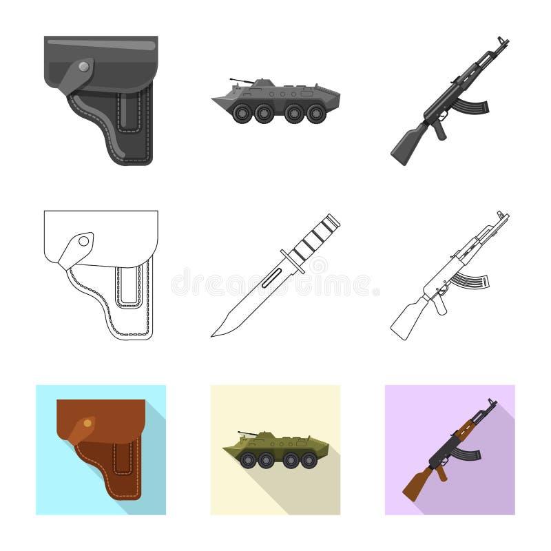 Conception de vecteur de logo d'arme et d'arme à feu Collection d'icône de vecteur d'arme et d'armée pour des actions illustration stock