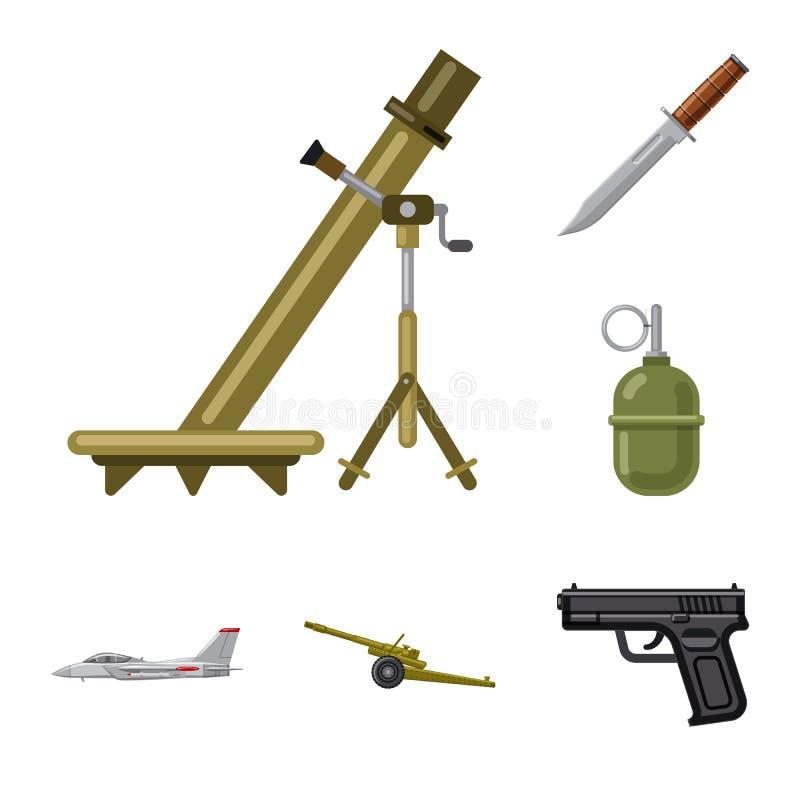 Conception de vecteur de logo d'arme et d'arme à feu Ensemble de symbole boursier d'arme et d'armée pour le Web illustration stock