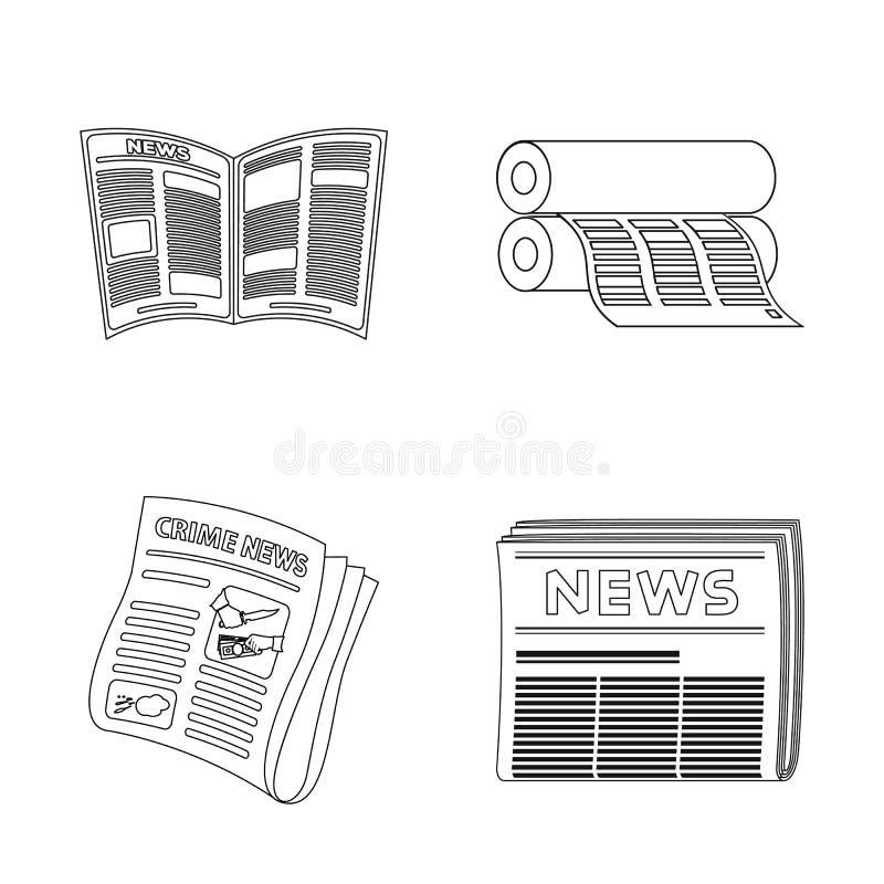 Conception de vecteur de logo quotidien et plié Collection de symbole de journal et de pâte à papier pour le Web illustration stock