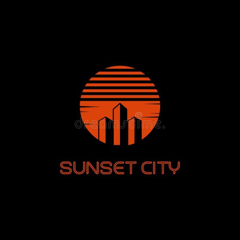 Conception de vecteur de logo de ville de coucher du soleil illustration de vecteur