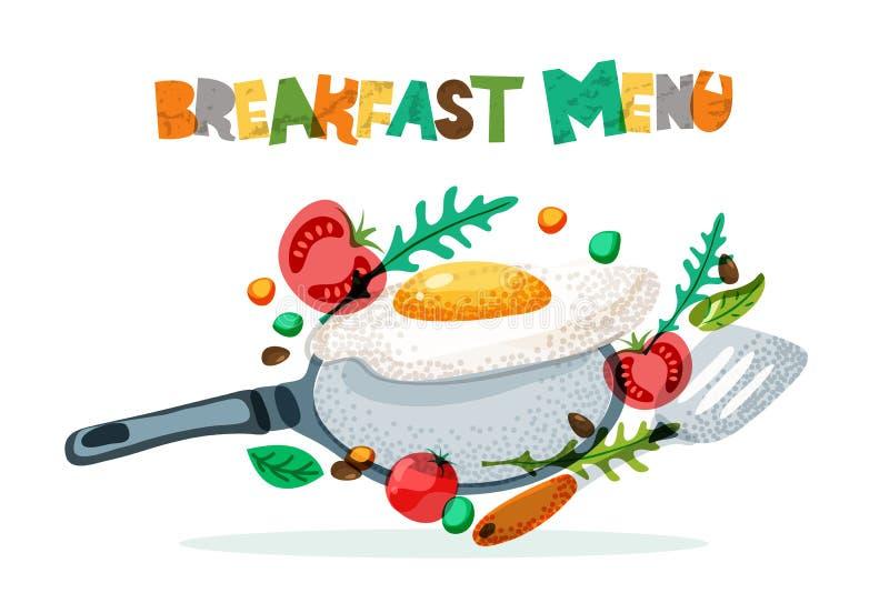 Conception de vecteur de menu de petit déjeuner Oeufs au plat, tomate, assaisonnement, poêle et spatule Recette de matin et conce illustration libre de droits