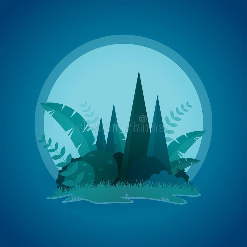 Conception de vecteur de petit paysage tropical de nuit d'île illustration stock