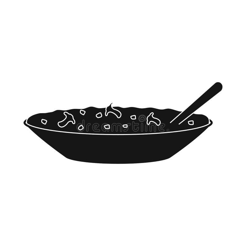 Conception de vecteur de signe de cuvette et de gruau Collection d'illustration de vecteur d'actions de cuvette et de dîner illustration stock