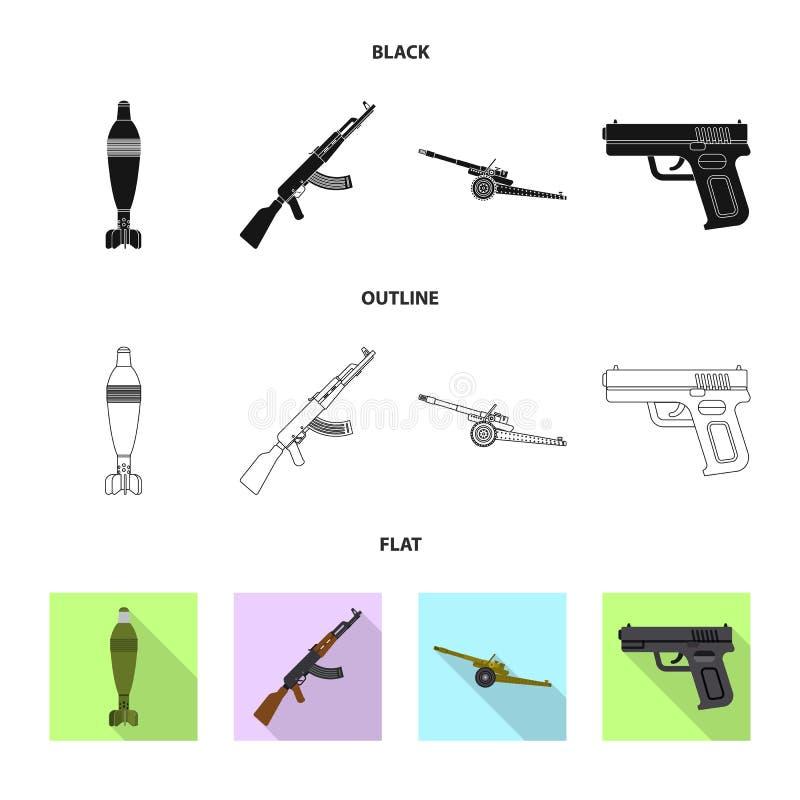 Conception de vecteur de signe d'arme et d'arme à feu Ensemble d'icône de vecteur d'arme et d'armée pour des actions illustration stock
