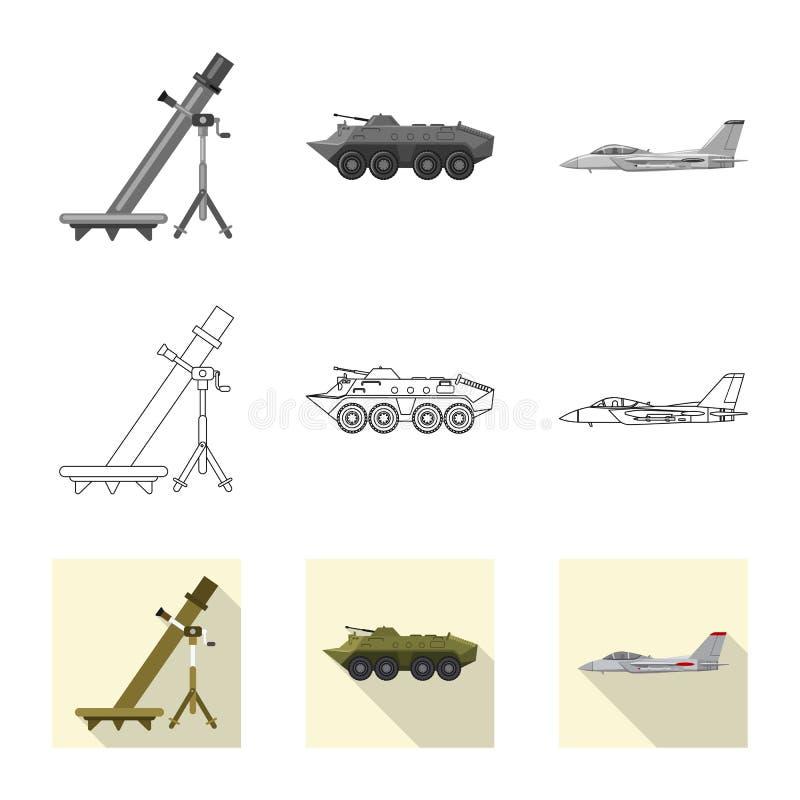 Conception de vecteur de signe d'arme et d'arme à feu Ensemble de symbole boursier d'arme et d'armée pour le Web illustration stock