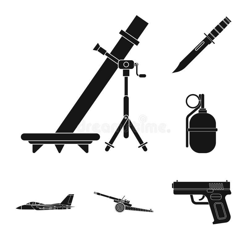 Conception de vecteur de signe d'arme et d'arme à feu Ensemble de symbole boursier d'arme et d'armée pour le Web illustration de vecteur
