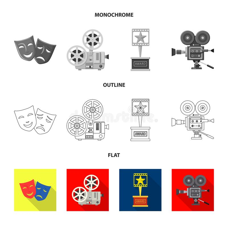 Conception de vecteur de signe de t?l?vision et de pelliculage Ensemble de t?l?vision et d'illustration courante de visionnement  illustration de vecteur