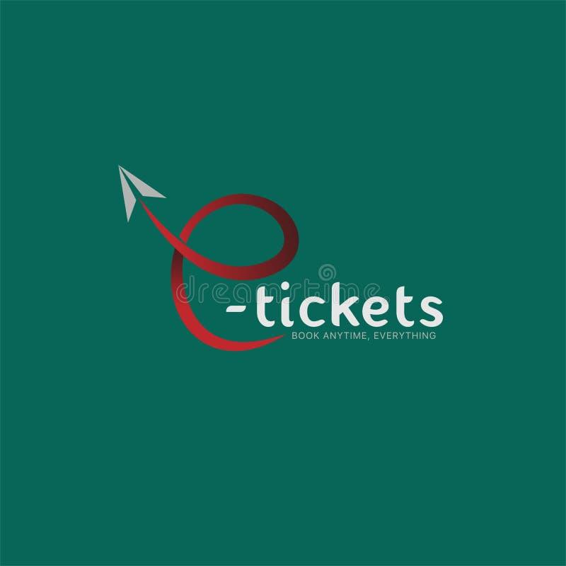 Conception de vecteur de société de logo de billets d'E, portail de réservation illustration libre de droits