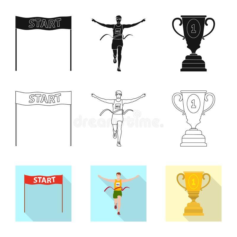 Conception de vecteur de sport et de logo de gagnant Placez du symbole boursier de sport et de forme physique pour le Web illustration stock