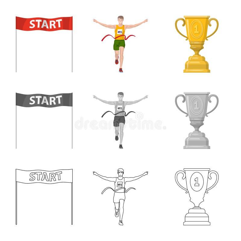 Conception de vecteur de sport et de signe de gagnant Placez de l'illustration courante de vecteur de sport et de forme physique illustration de vecteur