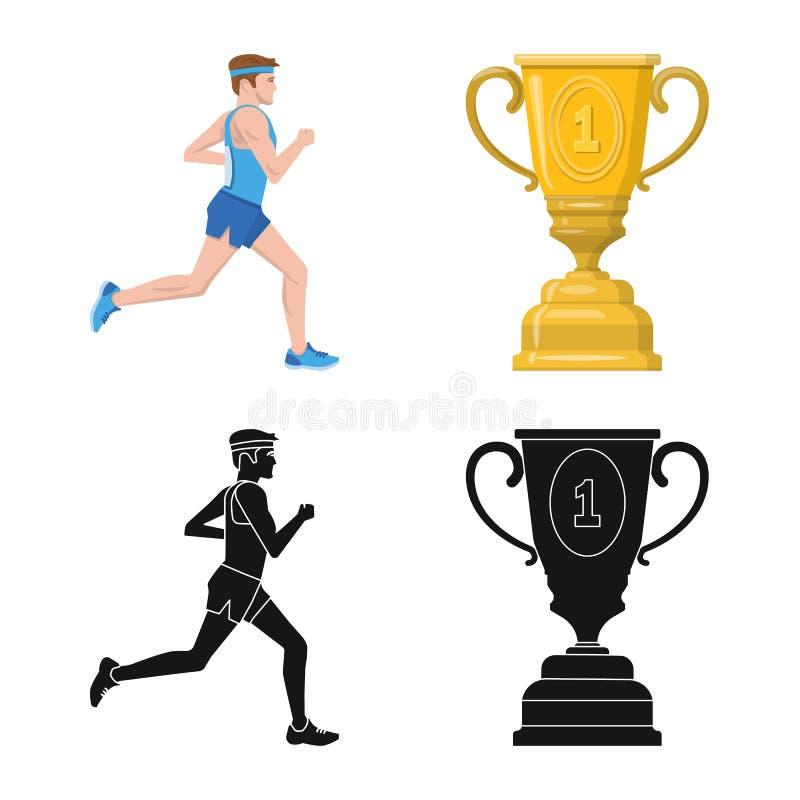 Conception de vecteur de sport et de symbole de gagnant Placez de l'ic?ne de vecteur de sport et de forme physique pour des actio illustration de vecteur