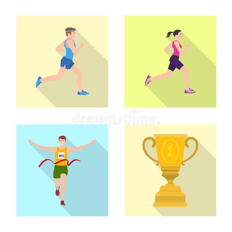 Conception de vecteur de sport et de symbole de gagnant Placez de l'ic?ne de vecteur de sport et de forme physique pour des actio illustration libre de droits