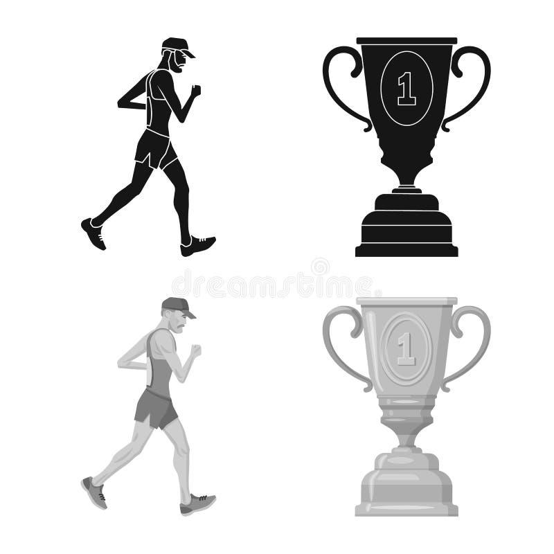 Conception de vecteur de sport et de symbole de gagnant Placez de l'illustration courante de vecteur de sport et de forme physiqu illustration stock