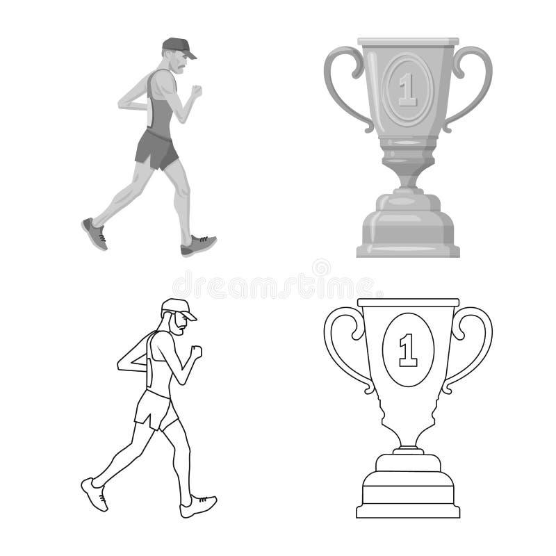 Conception de vecteur de sport et de symbole de gagnant Placez de l'illustration courante de vecteur de sport et de forme physiqu illustration libre de droits