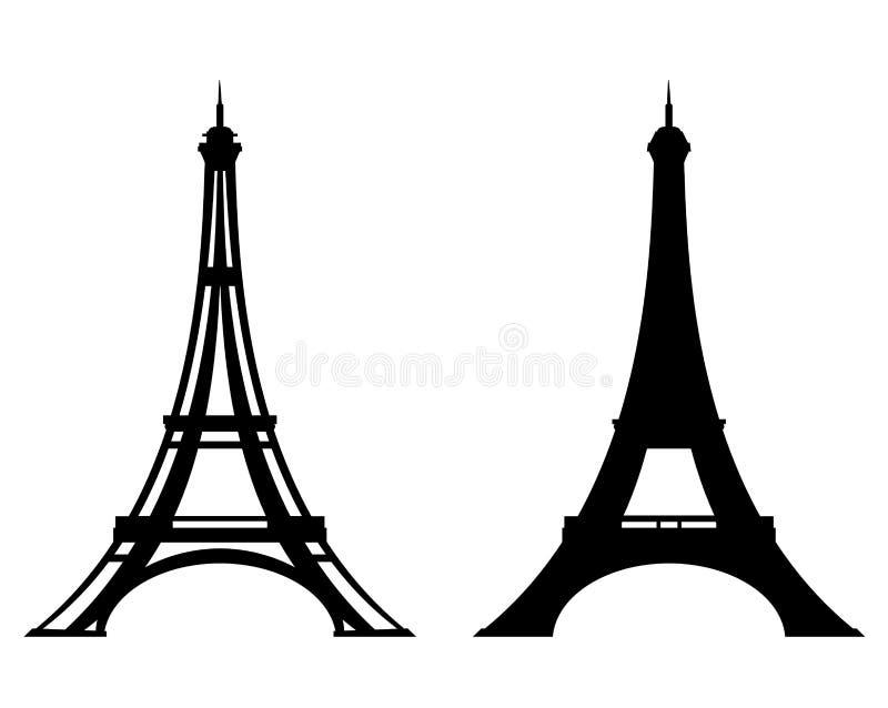 Conception de vecteur stylisée par Tour Eiffel d'ensemble et de silhouette illustration stock
