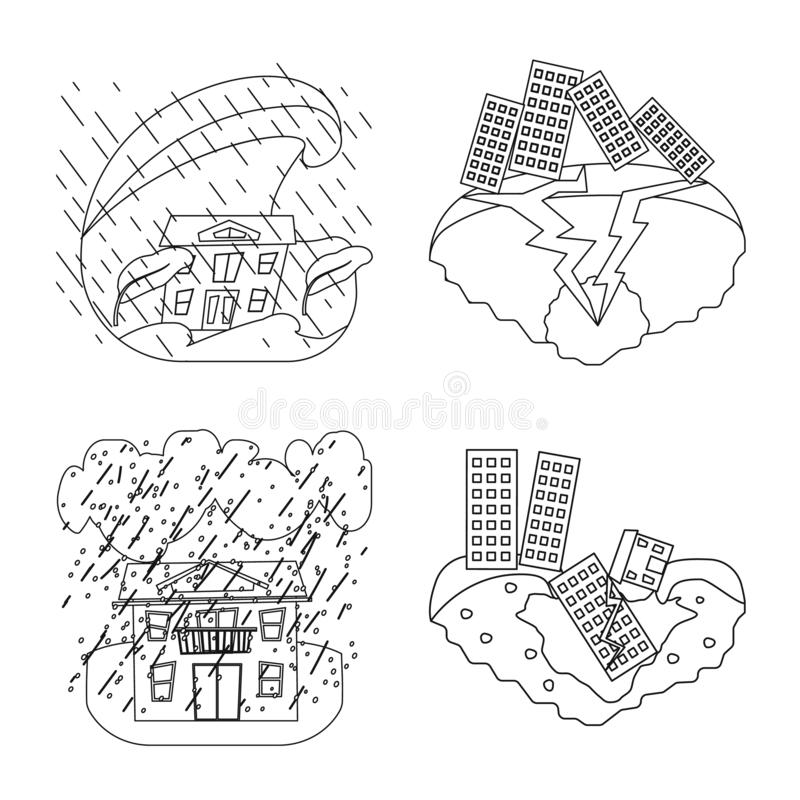 Conception de vecteur de symbole de cataclysme et de catastrophe Collection de cataclysme et d'illustration de vecteur d'actions  illustration stock