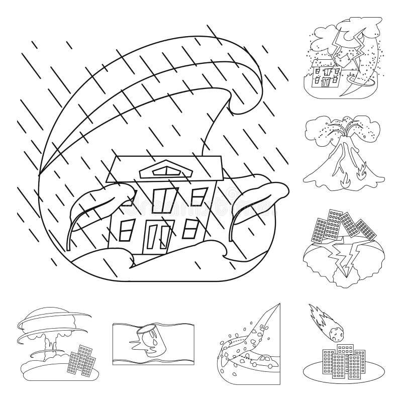 Conception de vecteur de symbole de cataclysme et de catastrophe Placez du cataclysme et de l'illustration de vecteur d'actions d illustration de vecteur