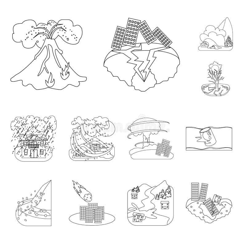 Conception de vecteur de symbole de cataclysme et de catastrophe Placez de l'icône de vecteur de cataclysme et d'apocalypse pour  illustration libre de droits