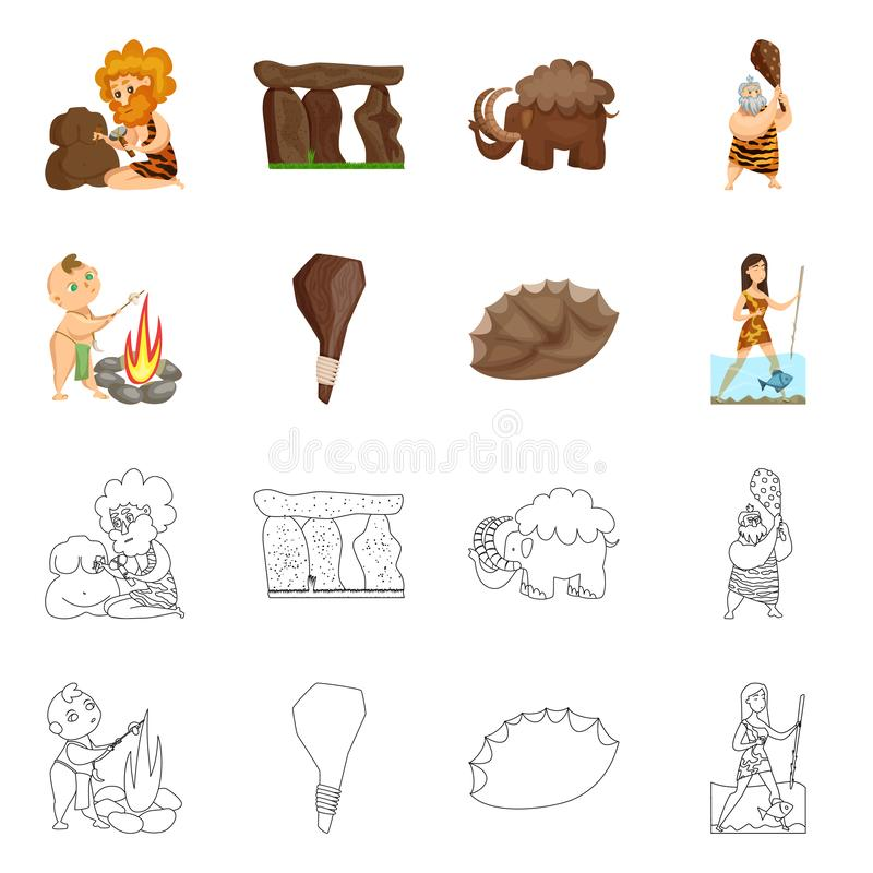Conception de vecteur de symbole d'évolution et de préhistoire Collection de symbole boursier d'évolution et de développement pou illustration stock