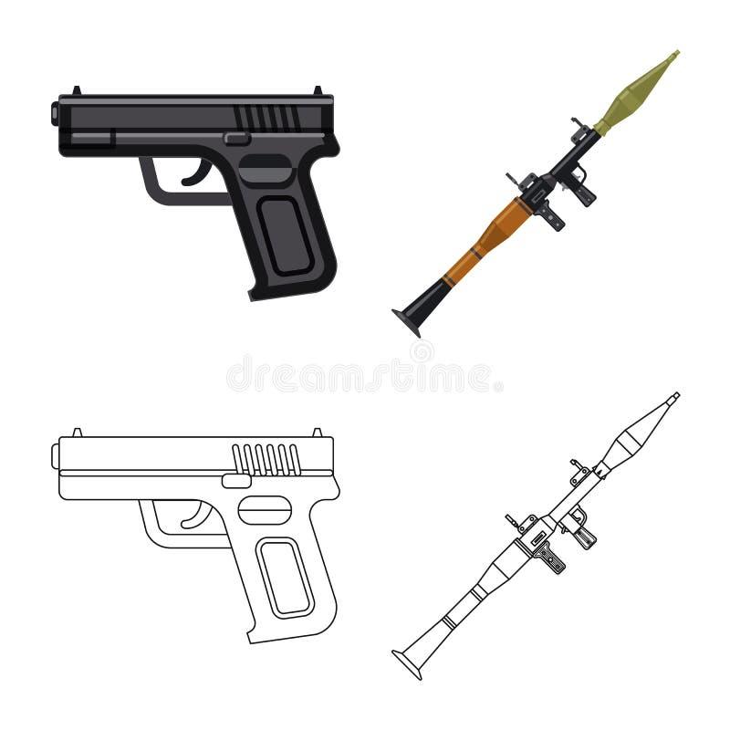 Conception de vecteur de symbole d'arme et d'arme à feu Collection de l'illustration courante de vecteur d'arme et d'armée illustration stock