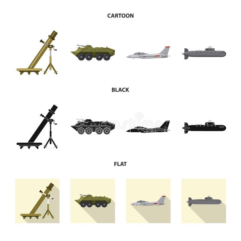 Conception de vecteur de symbole d'arme et d'arme à feu Ensemble d'illustration courante de vecteur d'arme et d'armée illustration stock