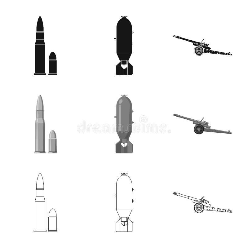 Conception de vecteur de symbole d'arme et d'arme à feu Ensemble d'illustration courante de vecteur d'arme et d'armée illustration libre de droits