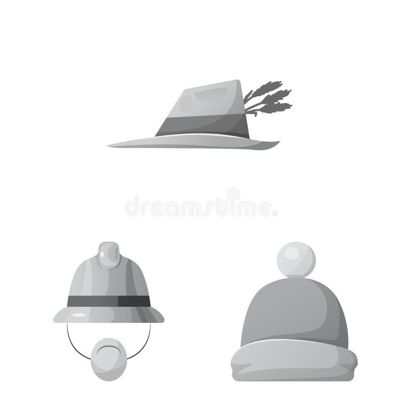 Conception de vecteur de symbole de headwear et de chapeau Collection de l'illustration courante de vecteur de headwear et d'acce illustration stock