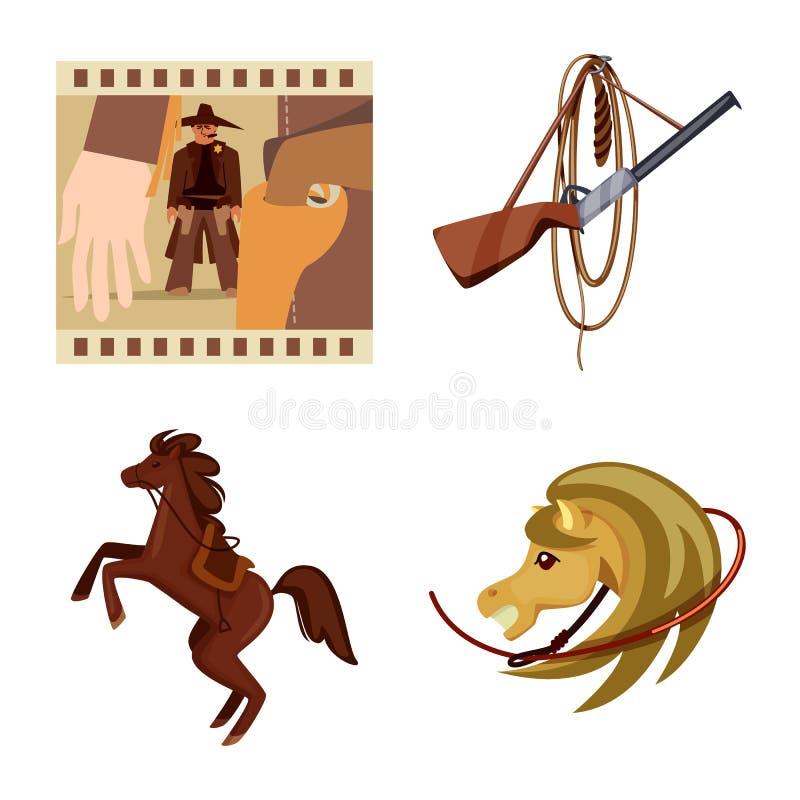 Conception de vecteur de symbole sauvage et occidental Placez du symbole boursier sauvage et am?ricain pour le Web illustration de vecteur