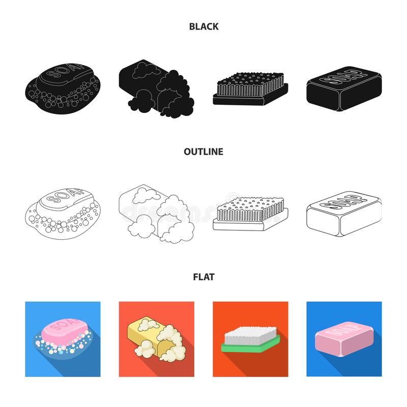 Conception de vecteur de symbole de savon et de salle de bains Ensemble de savon et ic?ne de empaquetage de vecteur pour des acti illustration stock