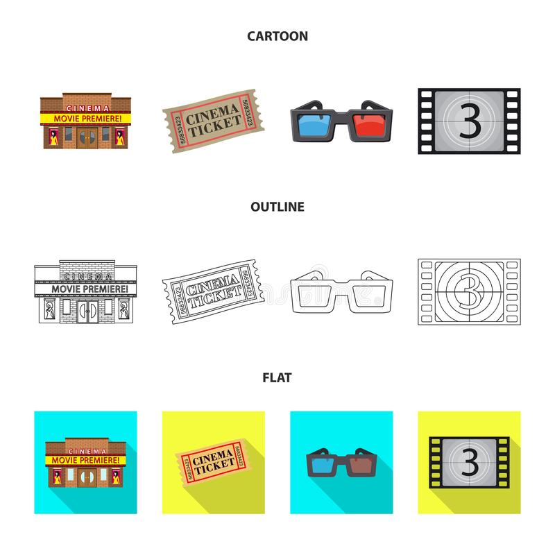 Conception de vecteur de symbole de t?l?vision et de pelliculage Collection de t?l?vision et de symbole boursier de visionnement  illustration libre de droits
