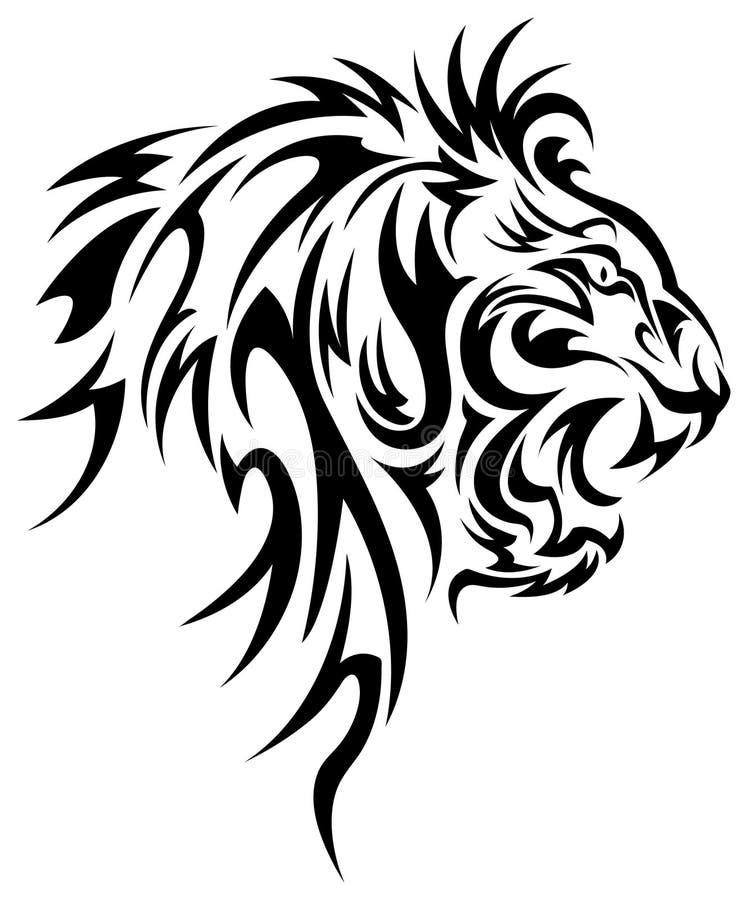 Conception de vecteur de tatouage de tête de lion illustration stock