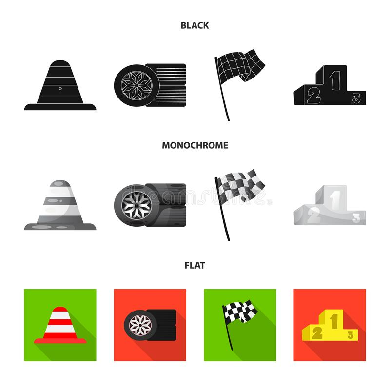 Conception de vecteur de voiture et d'icône de rassemblement Ensemble d'icône de vecteur de voiture et de course pour des actions illustration libre de droits