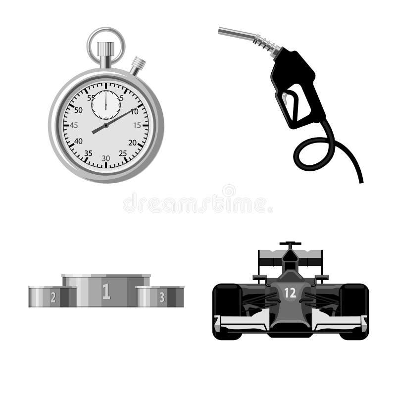 Conception de vecteur de voiture et d'icône de rassemblement Ensemble d'illustration courante de vecteur de voiture et de course illustration libre de droits