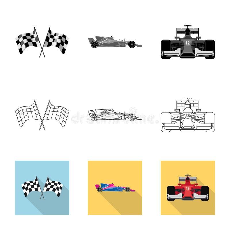 Conception de vecteur de voiture et de logo de rassemblement Collection de symbole boursier de voiture et de course pour le Web illustration libre de droits