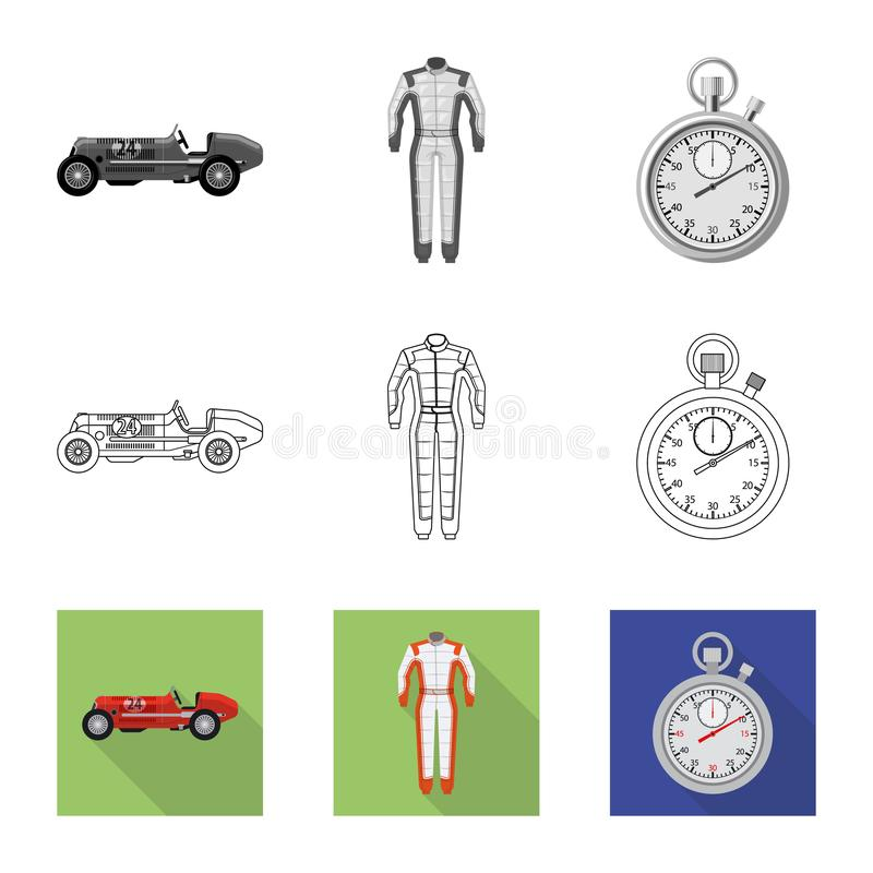 Conception de vecteur de voiture et de logo de rassemblement Collection de symbole boursier de voiture et de course pour le Web illustration stock