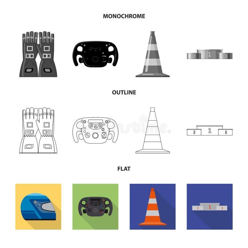 Conception de vecteur de voiture et de logo de rassemblement Ensemble de symbole boursier de voiture et de course pour le Web illustration libre de droits