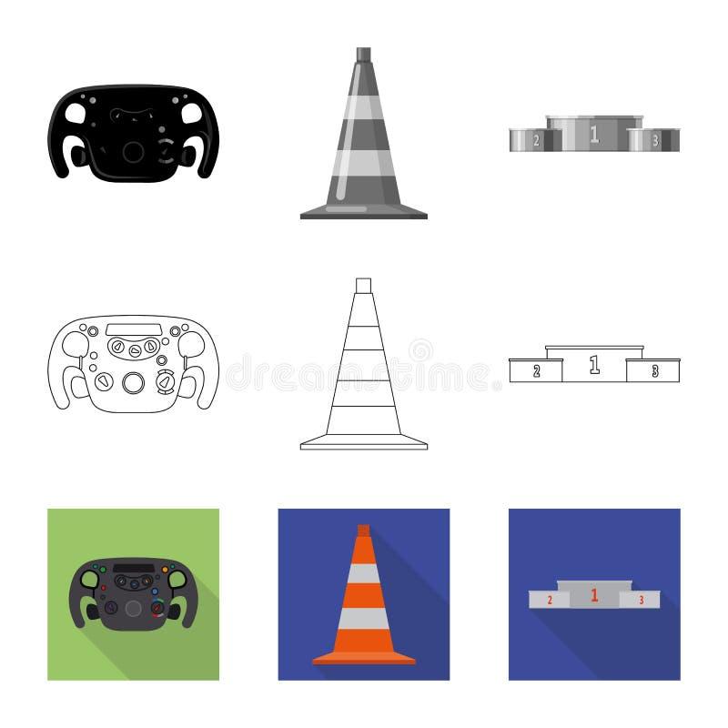 Conception de vecteur de voiture et de signe de rassemblement Collection de symbole boursier de voiture et de course pour le Web illustration libre de droits