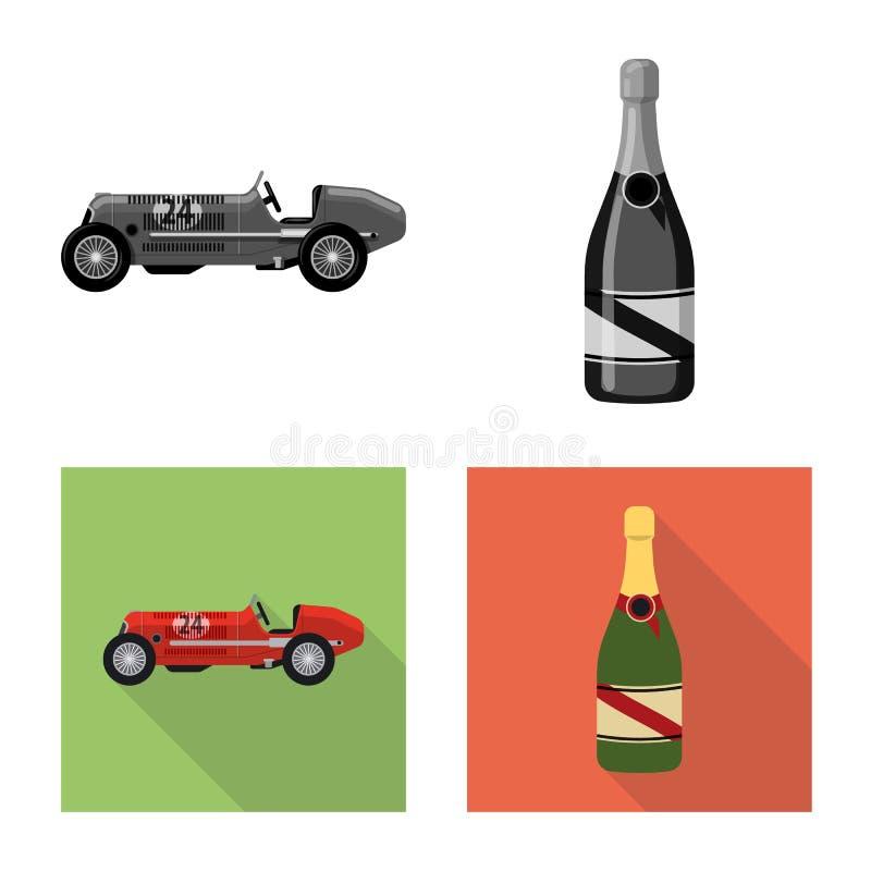 Conception de vecteur de voiture et de signe de rassemblement Collection de symbole boursier de voiture et de course pour le Web illustration stock