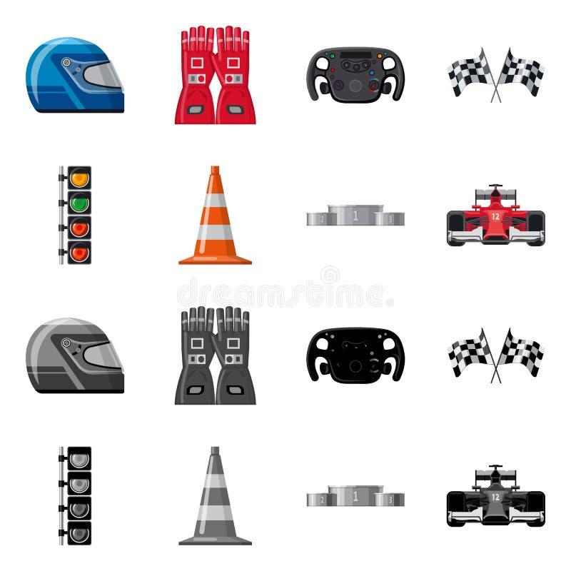 Conception de vecteur de voiture et de signe de rassemblement Ensemble d'illustration courante de vecteur de voiture et de course illustration stock