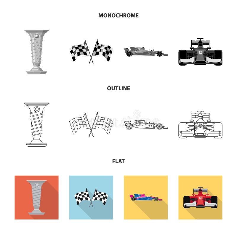 Conception de vecteur de voiture et de symbole de rassemblement Ensemble d'ic?ne de vecteur de voiture et de course pour des acti illustration libre de droits