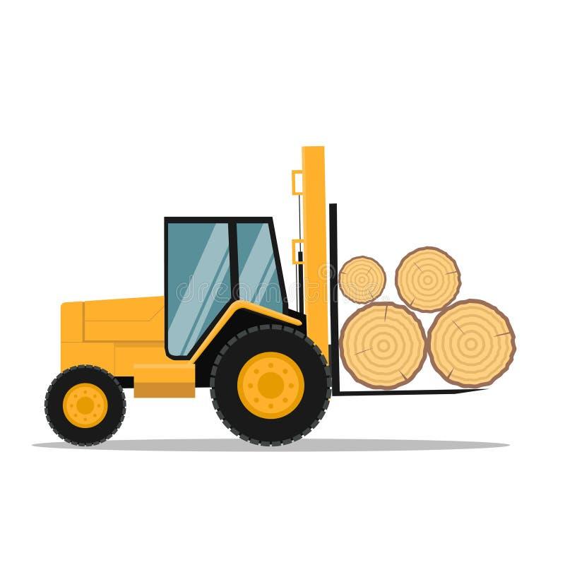 Conception de vecteurs pour les troncs d'arbre de chargement de chariots élévateurs de tout terrain illustration libre de droits